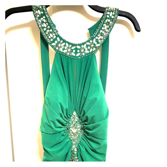 Ignite Evenings Dresses Green Sequin Halter Style Formal Gown